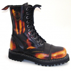 boty kožené KMM 10 dírkové černé/žlutá/červená