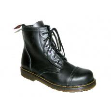 boty kožené KMM 6 dírkové černé Liquid