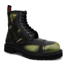 boty kožené KMM 8 dírkové černé/zelená/bílá