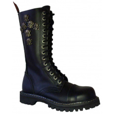 boty kožené KMM 14 dírkové černé s lebkami