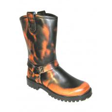 boty kožené KMM moto černé/oranžová