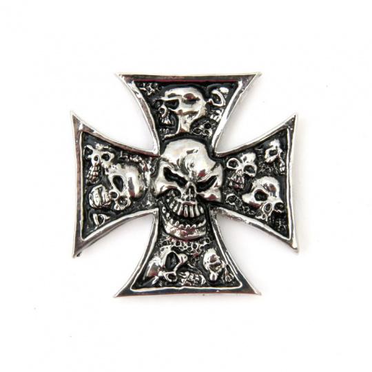 Emblém samolepící lebky v kříži