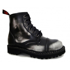 boty kožené KMM 6 dírkové černé/bílá