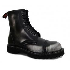boty kožené KMM 8 dírkové černé/bílá