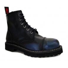 boty kožené KMM 6 dírkové černé/modrá