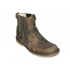 boty kožené KMM moto nízké crazy olivové