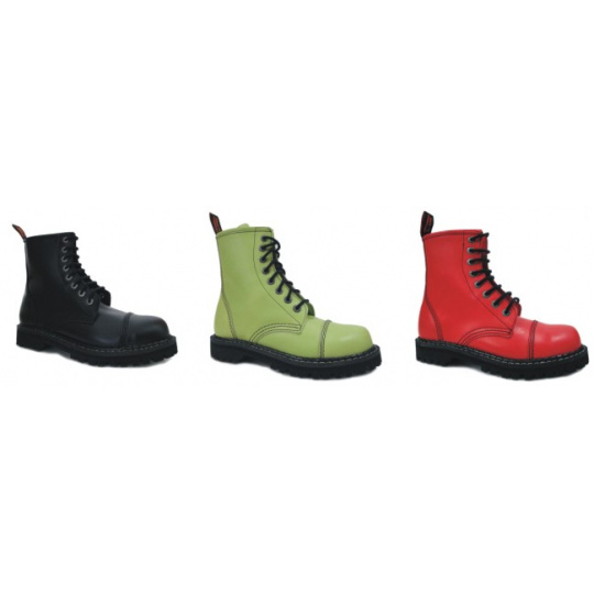 boty kožené KMM 8 dírkové jednobarevné