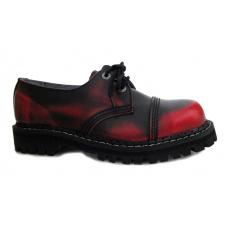 boty kožené KMM 3 dírkové černé/červená