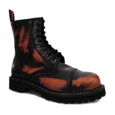 boty kožené KMM 8 dírkové černé/oranžová