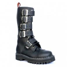 boty kožené KMM 14 dírkové černé s 5 přezkama