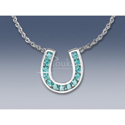 náhrdelník podkova s tyrkysovými zirkony SWAROVSKI