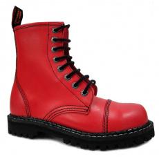 boty kožené KMM 8 dírkové červené