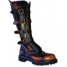 boty kožené KMM 20 dírkové černé/oranžové se 4 přezkama