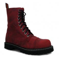 boty kožené KMM 10 dírkové crazy červené