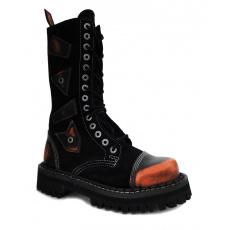 boty kožené KMM 14 dírkové černé/oranžová kombinované