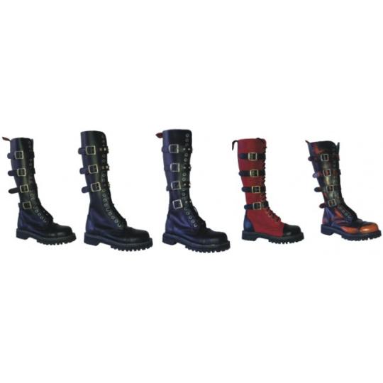 boty kožené KMM 20 dírkové s přezkami