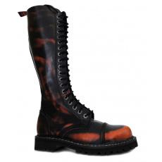 boty kožené KMM 20 dírkové černé/oranžová