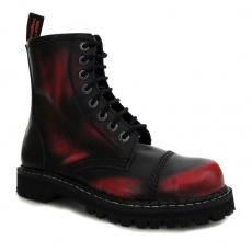 boty kožené KMM 8 dírkové černé/červená