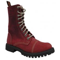 boty kožené KMM 10 dírkové crazy červené Aston