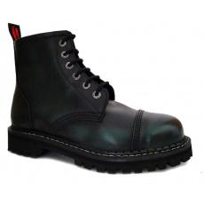 boty kožené KMM 6 dírkové černé/zelená