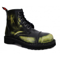 boty kožené KMM 6 dírkové černé/zelená/bílá